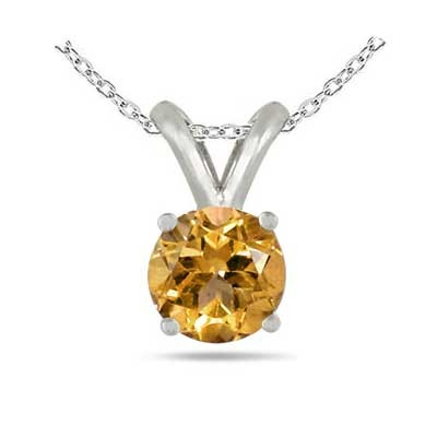 0.45Ct Round Citrine Pendant in 14k White Gold