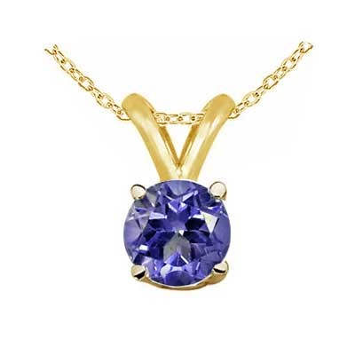 0.46Ct Round Tanzanite Pendant in 14k Yellow Gold