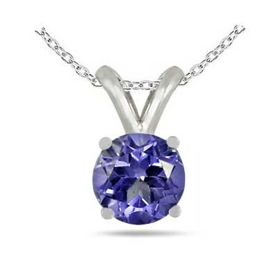 0.46Ct Round Tanzanite Pendant in Sterling Silver Gold