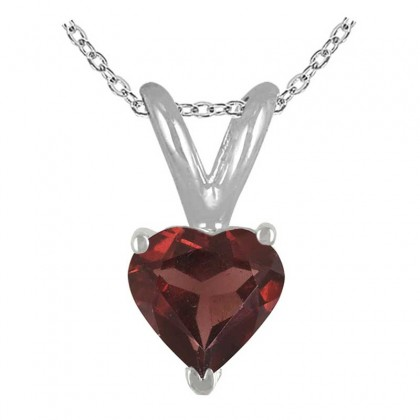 0.55Ct Heart Garnet Pendant in 14k White Gold