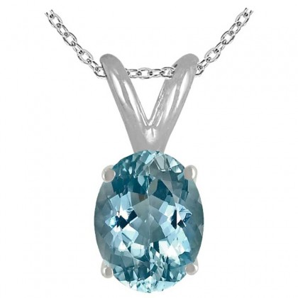 0.55Ct Oval Aquamarine Pendant in Sterling Silver Gold