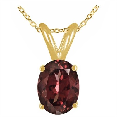 0.55Ct Oval Garnet Pendant in 14k Yellow Gold