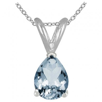 0.55Ct Pear Aquamarine Pendant in 14k White Gold