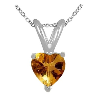 0.65Ct Heart Citrine Pendant in Sterling Silver Gold