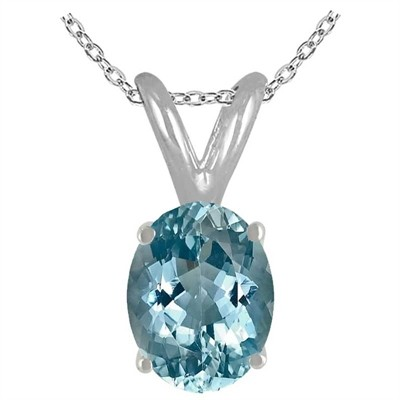 0.65Ct Oval Aquamarine Pendant in 14k White Gold