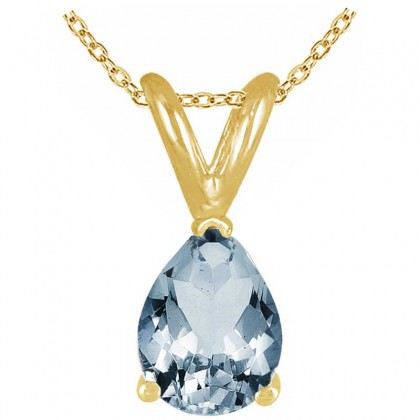 0.65Ct Pear Aquamarine Pendant in 14k Yellow Gold