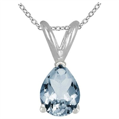 0.65Ct Pear Aquamarine Pendant in Sterling Silver Gold