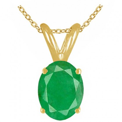 0.66Ct Oval Emerald Pendant in 14k Yellow Gold