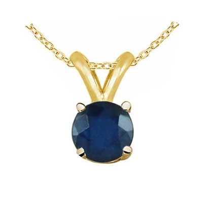 0.72Ct Round Sapphire Pendant in 14k Yellow Gold