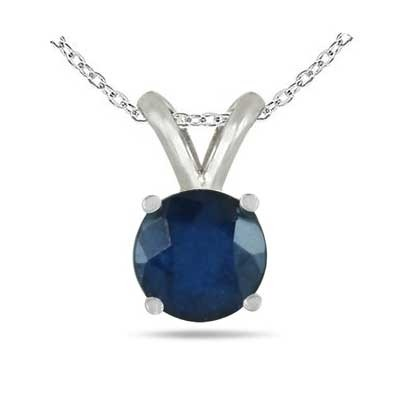 0.72Ct Round Sapphire Pendant in Sterling Silver Gold