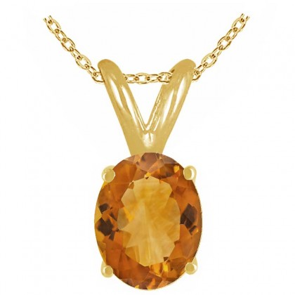 0.75Ct Oval Citrine Pendant in 14k Yellow Gold