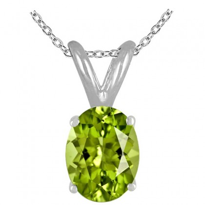 0.75Ct Oval Peridot Pendant in 14k White Gold