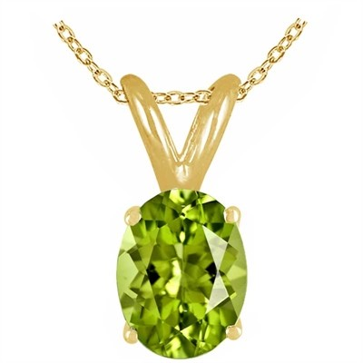0.75Ct Oval Peridot Pendant in 14k Yellow Gold