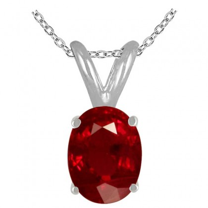 0.75Ct Oval Ruby Pendant in 14k White Gold