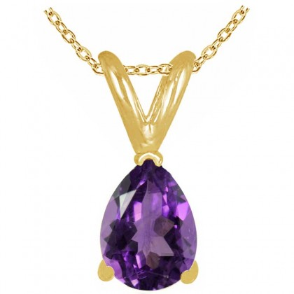 0.75Ct Pear Amethyst Pendant in 14k Yellow Gold