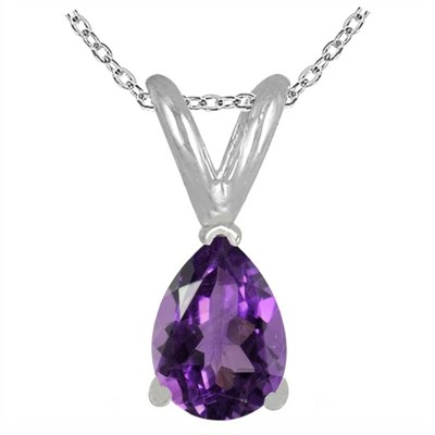 0.75Ct Pear Amethyst Pendant in Sterling Silver Gold