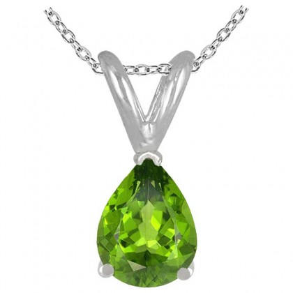 0.75Ct Pear Peridot Pendant in Sterling Silver Gold