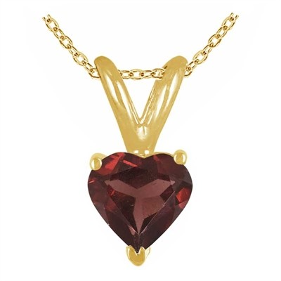 0.77Ct Heart Garnet Pendant in 14k Yellow Gold