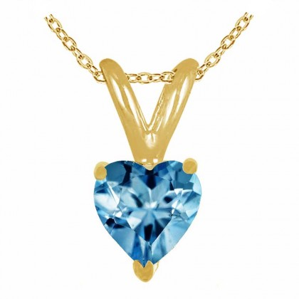 0.80Ct Heart Aquamarine Pendant in 14k Yellow Gold