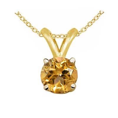 0.80Ct Round Citrine Pendant in 14k Yellow Gold
