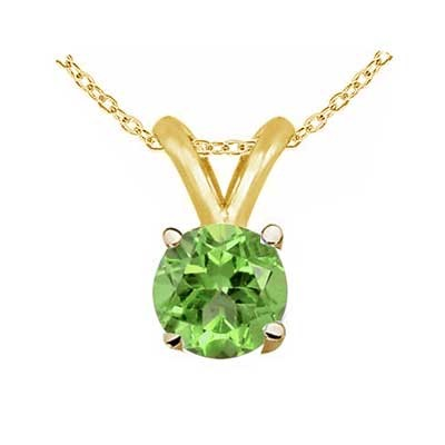0.80Ct Round Peridot Pendant in 14k Yellow Gold