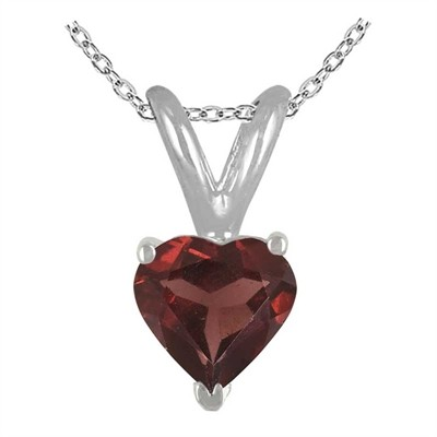 0.89Ct Heart Garnet Pendant in 14k White Gold
