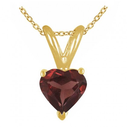 0.89Ct Heart Garnet Pendant in 14k Yellow Gold