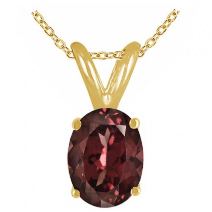 0.90Ct Oval Garnet Pendant in 14k Yellow Gold