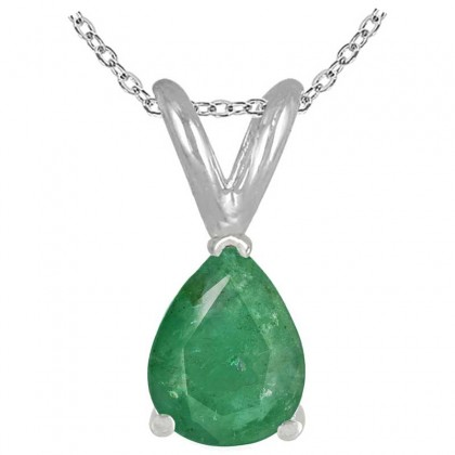 0.93Ct Pear Emerald Pendant in 14k White Gold