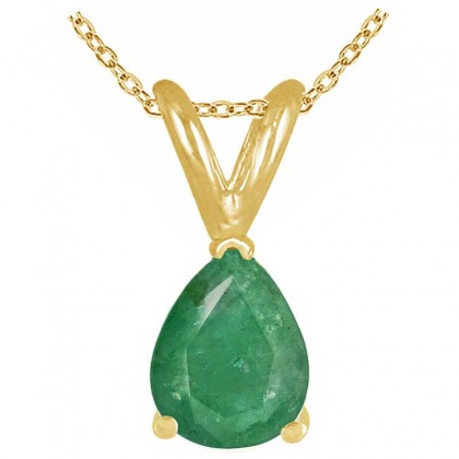 0.93Ct Pear Emerald Pendant in 14k Yellow Gold