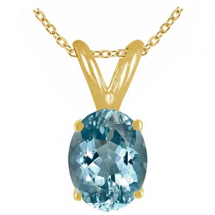 0.94Ct Oval Aquamarine Pendant in 14k Yellow Gold