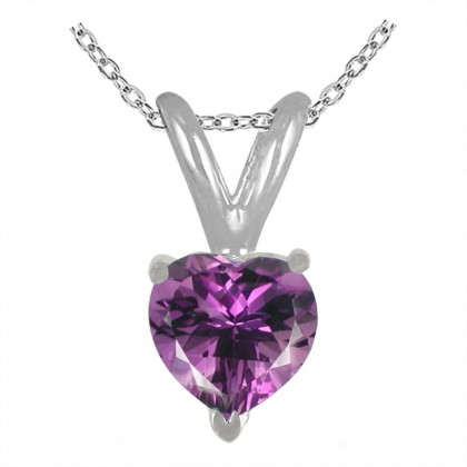 1.00Ct Heart Amethyst Pendant in 14k White Gold