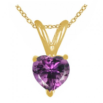 1.00Ct Heart Amethyst Pendant in 14k Yellow Gold