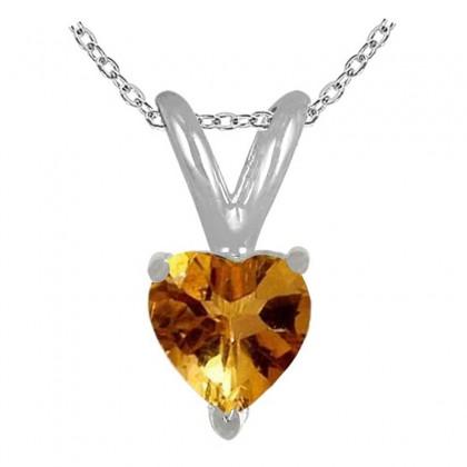 1.00Ct Heart Citrine Pendant in 14k White Gold