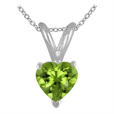 1.00Ct Heart Peridot Pendant in 14k White Gold