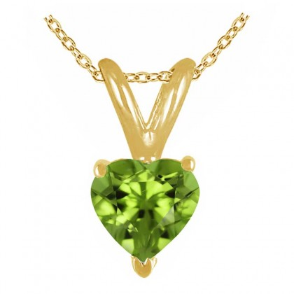 1.00Ct Heart Peridot Pendant in 14k Yellow Gold