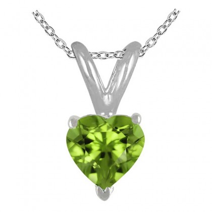 1.00Ct Heart Peridot Pendant in Sterling Silver Gold