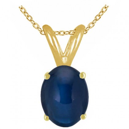 1.00Ct Oval Sapphire Pendant in 14k Yellow Gold