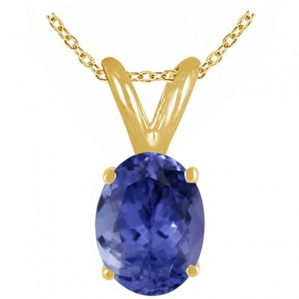 1.07Ct Oval Tanzanite Pendant in 14k Yellow Gold