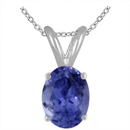 1.07Ct Oval Tanzanite Pendant in Sterling Silver Gold