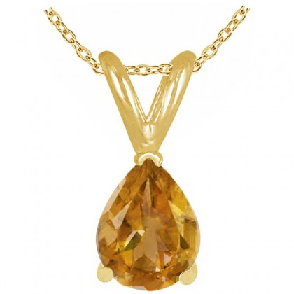 1.10Ct Pear Citrine Pendant in 14k Yellow Gold