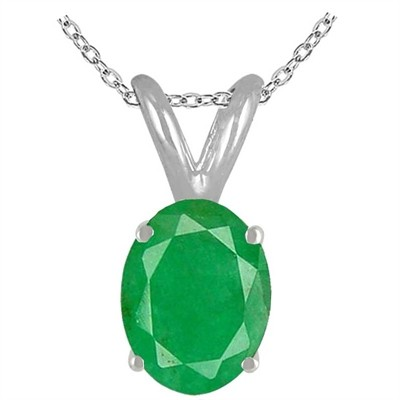 1.15Ct Oval Emerald Pendant in 14k White Gold