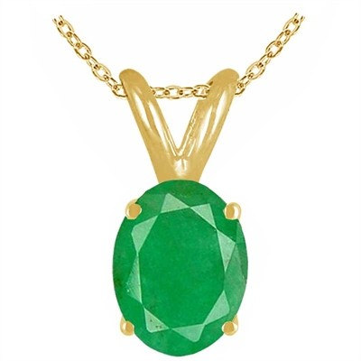 1.15Ct Oval Emerald Pendant in 14k Yellow Gold