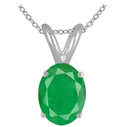 1.15Ct Oval Emerald Pendant in Sterling Silver Gold