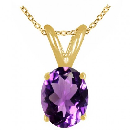 1.20Ct Oval Amethyst Pendant in 14k Yellow Gold