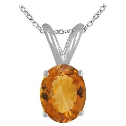 1.20Ct Oval Citrine Pendant in 14k White Gold