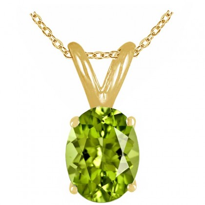 1.20Ct Oval Peridot Pendant in 14k Yellow Gold