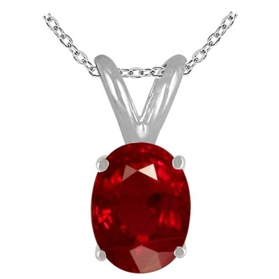 1.22Ct Oval Ruby Pendant in 14k White Gold