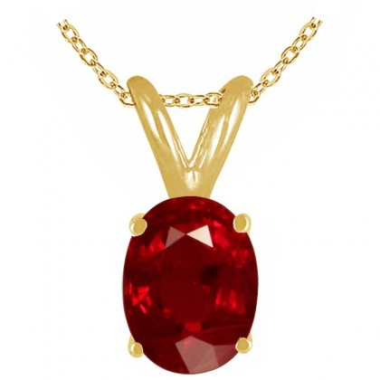 1.22Ct Oval Ruby Pendant in 14k Yellow Gold