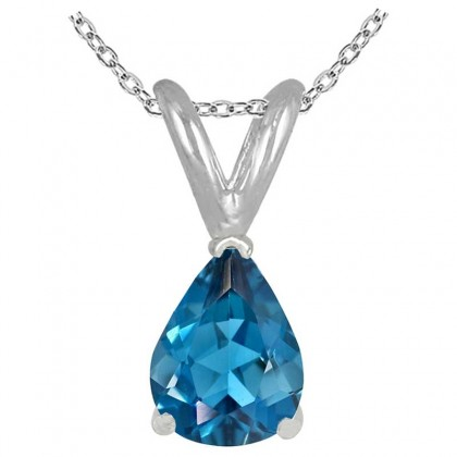 1.25Ct Pear Blue Topaz Pendant in Sterling Silver Gold